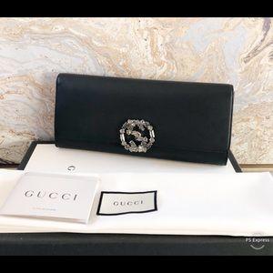 Gucci Broadway Crystal Embellished GG Clutch